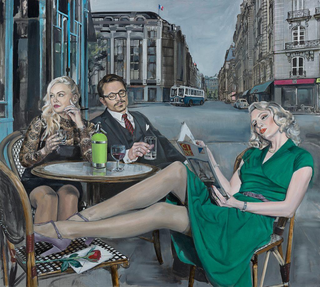 """ Paris Cafe"" Oil on Panel,  109cm x 122cm.                    P.O.A."