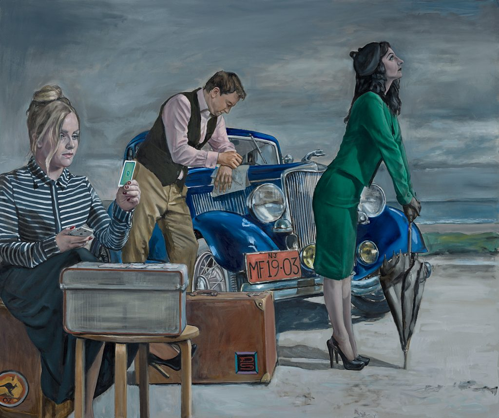 """Patience and the Travellers"" Oil on Panel,  101cm x 122cm.                      P.O.A."