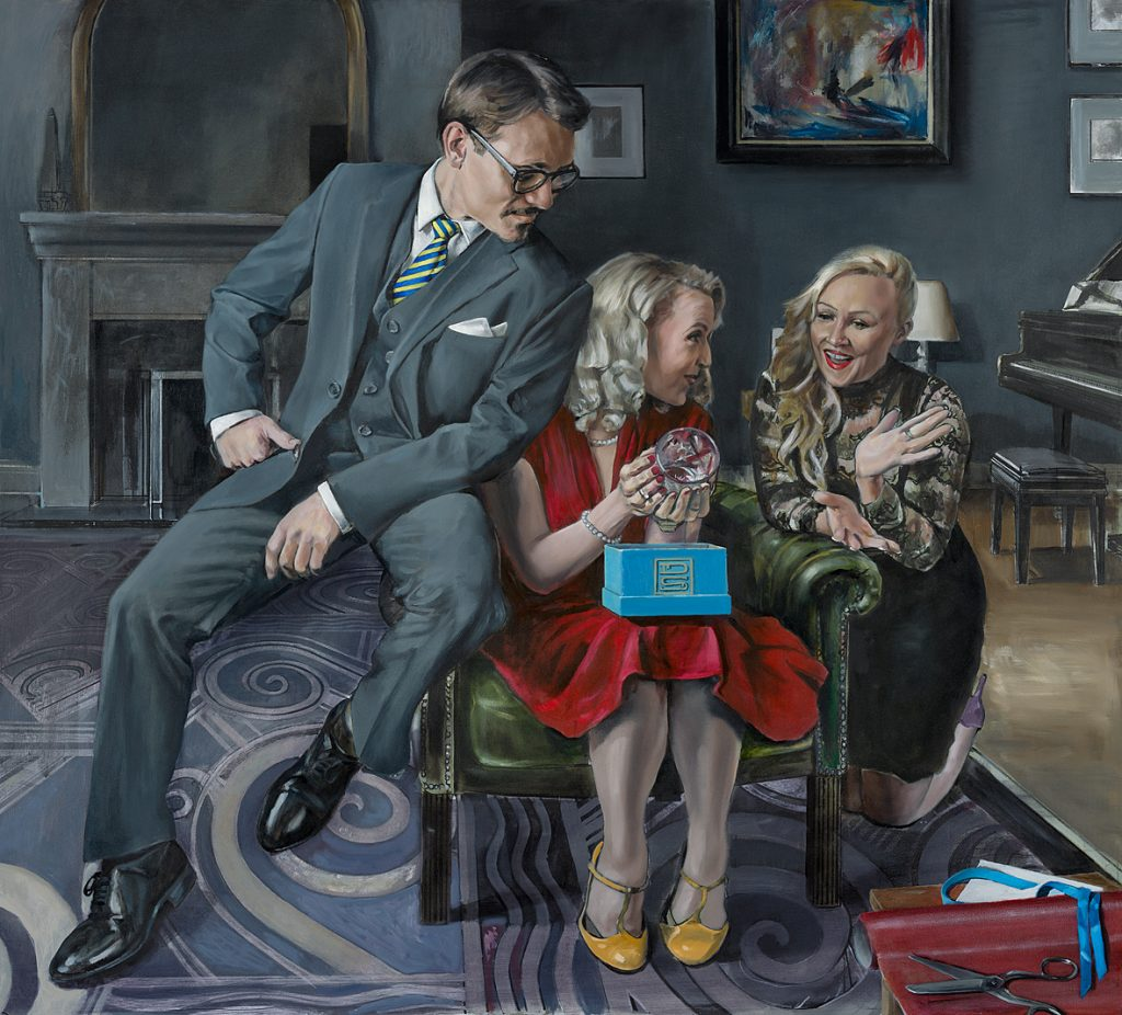 """The Gift of Giving"" Oil on Panel,  91cm x 101cm.                     P.O.A."