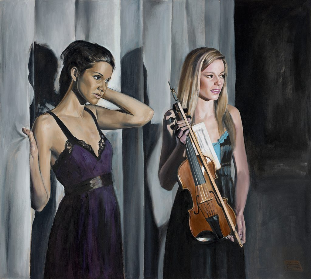 """Young Ladies Perform and Await the Encore"" Oil on Panel,  91cm x 101cm.                                     P.O.A."